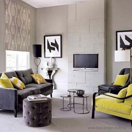 szürke-sárga modern nappali