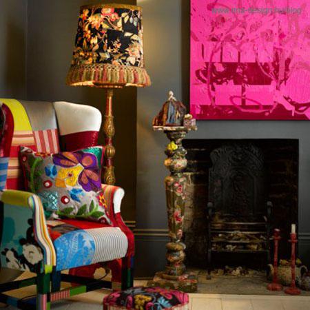 modern színes eklektikus giccses nappali