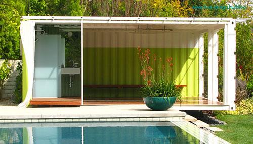 kék zöld zöldtetős konténer kerti lak