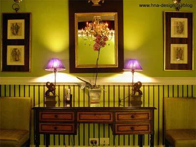 lila - zöld enteriőr lakberendezése