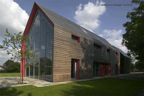 modern házak természetes homlokzatburkolattal