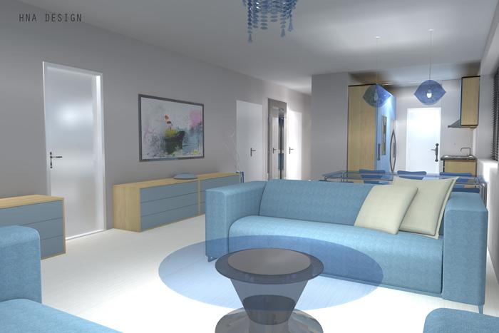 Variációk egy témára - társasházi lakás belsőépítészeti tervei 3 családmodellre