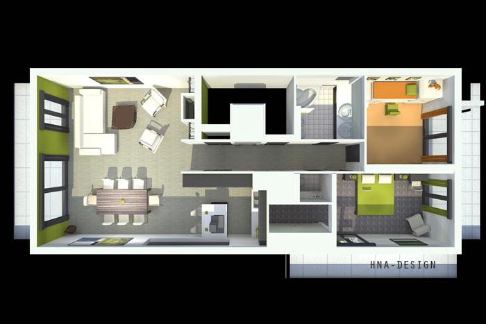 128 nm-es penthouse lakás felülnézeti képe
